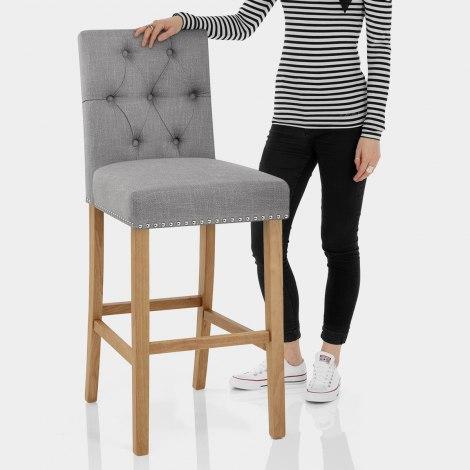 Barrington Oak Stool Grey Fabric Features Image