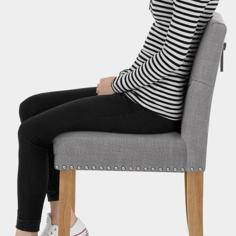 Barrington Oak Stool Grey Fabric Seat Image