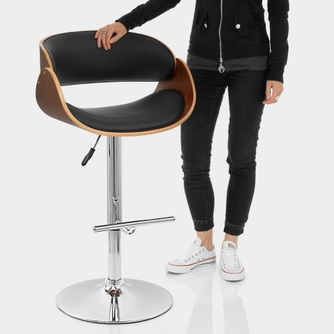 Becky Walnut Bar Stool Black Features Image