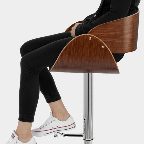 Becky Walnut Bar Stool Black Seat Image