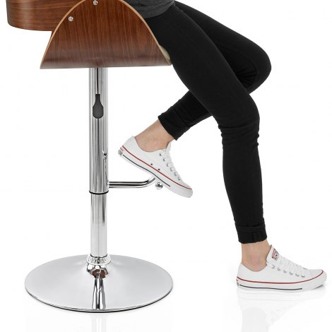Becky Walnut Bar Stool Cream Seat Image