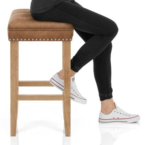 Belgravia Oak Stool Antique Brown Seat Image