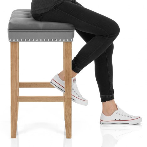 Belgravia Oak Stool Grey Velvet Seat Image