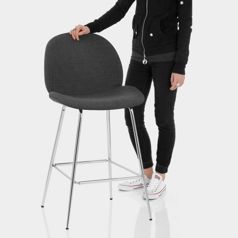Bella Bar Stool Charcoal Fabric Features Image