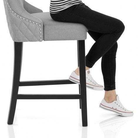 Bentley Bar Stool Light Grey Fabric Seat Image