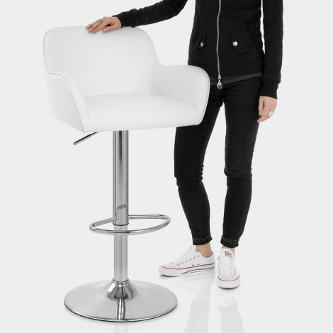 Berlin Brushed Bar Stool White Features Image