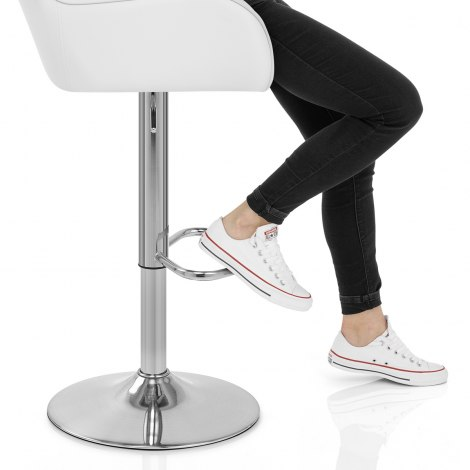 Berlin Brushed Bar Stool White Seat Image