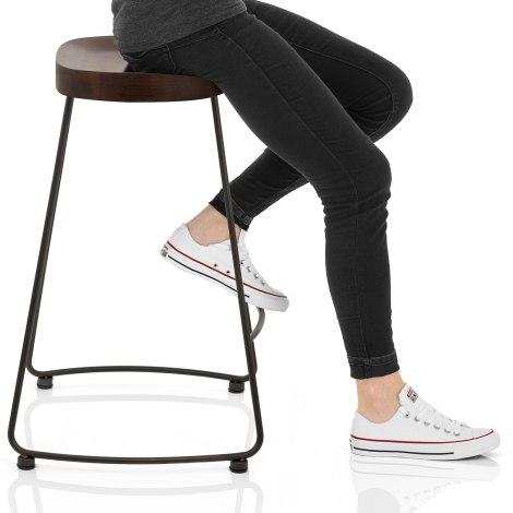 Bloc Stool Dark Wood Seat Image