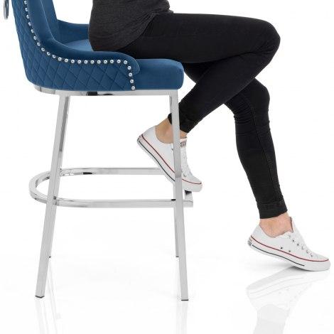 Blush Bar Stool Blue Velvet Seat Image