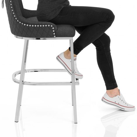Blush Bar Stool Charcoal Fabric Seat Image