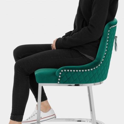 Blush Bar Stool Green Velvet Seat Image