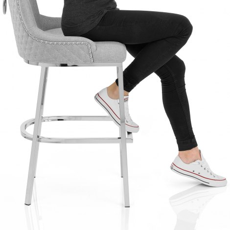 Blush Bar Stool Light Grey Fabric Seat Image