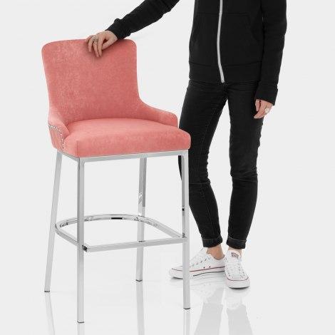 Blush Bar Stool Pink Velvet Features Image