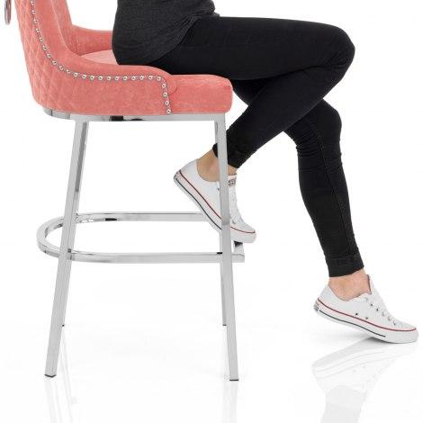 Blush Bar Stool Pink Velvet Frame Image