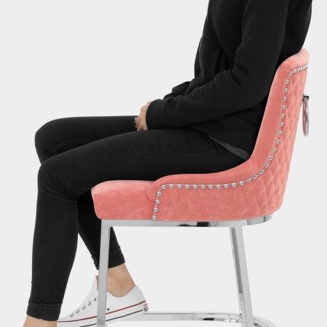 Blush Bar Stool Pink Velvet Seat Image