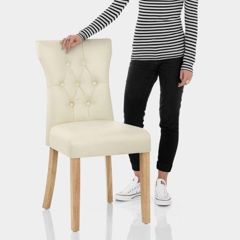 Bradbury Oak Dining Chair Cream Features Image