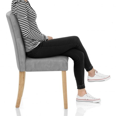 Bradbury Oak Dining Chair Grey Frame Image