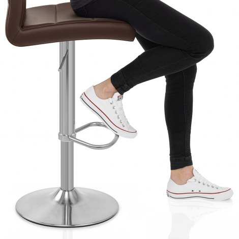 Brushed Steel Breakfast Bar Stool Brown Seat Image
