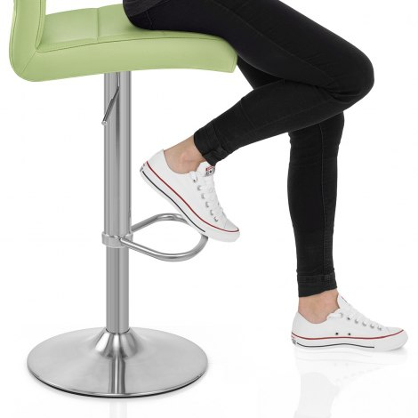 Brushed Steel Breakfast Bar Stool Green Frame Image