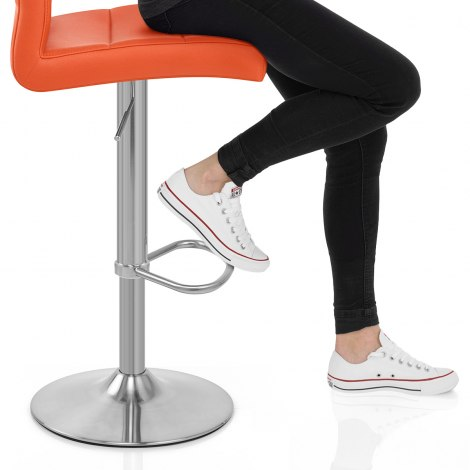 Brushed Steel Breakfast Bar Stool Orange Seat Image