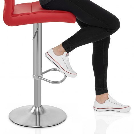 Brushed Steel Breakfast Bar Stool Red Seat Image