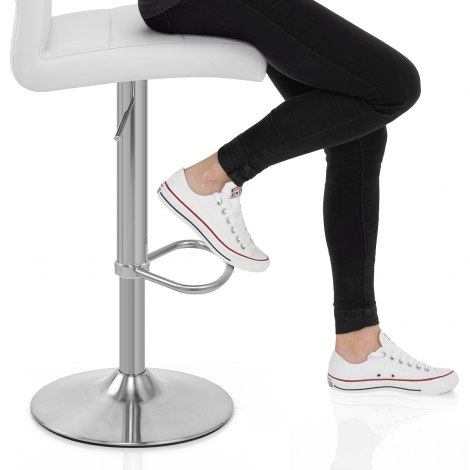 Brushed Steel Breakfast Bar Stool White Seat Image
