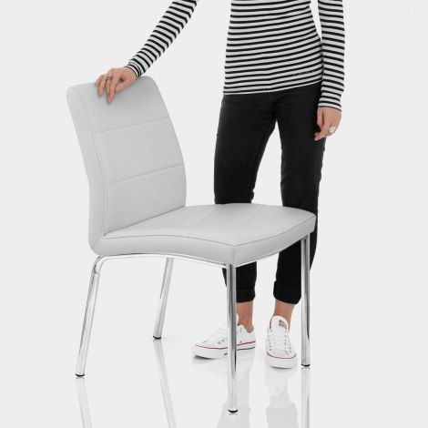 Chrome Breakfast Dining Chair Grey Features Image