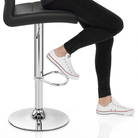 Chrome Breakfast Bar Stool Black Seat Image