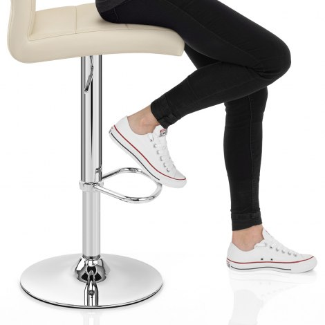 Chrome Breakfast Bar Stool Cream Seat Image