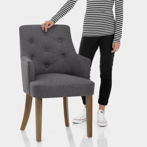 Broadway Oak Chair Charcoal Fabric Features Image