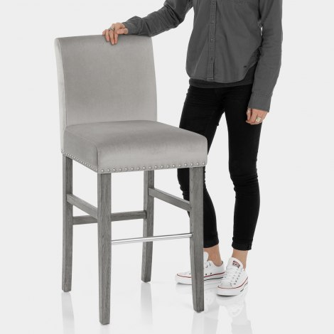 Brunswick Stool Grey Velvet Features Image