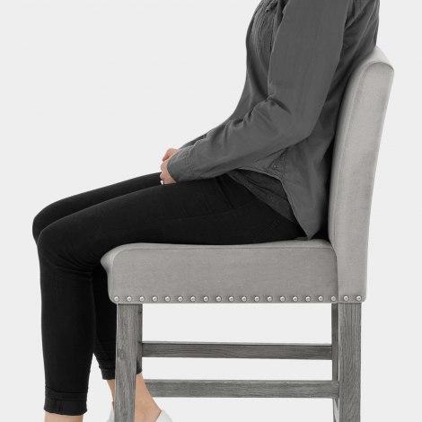 Brunswick Stool Grey Velvet Seat Image