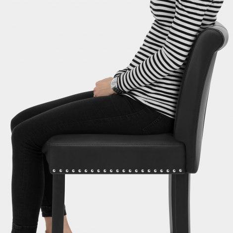 Buckingham Bar Stool Black Leather Seat Image