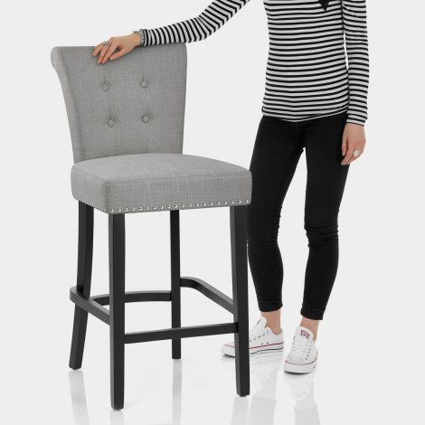 Buckingham Bar Stool Grey Fabric Features Image