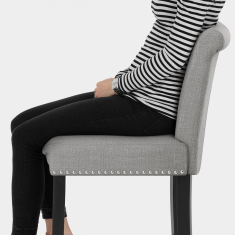 Buckingham Bar Stool Grey Fabric Seat Image