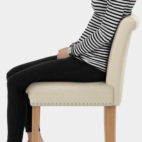 Buckingham Oak Stool Cream Leather Seat Image