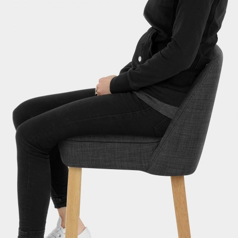 Cameo Wooden Stool Charcoal Seat Image