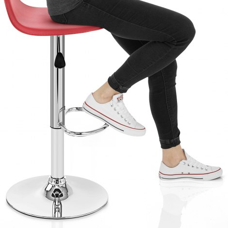 Cap Chrome Stool Red Seat Image