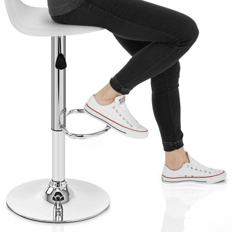 Cap Chrome Stool White Seat Image