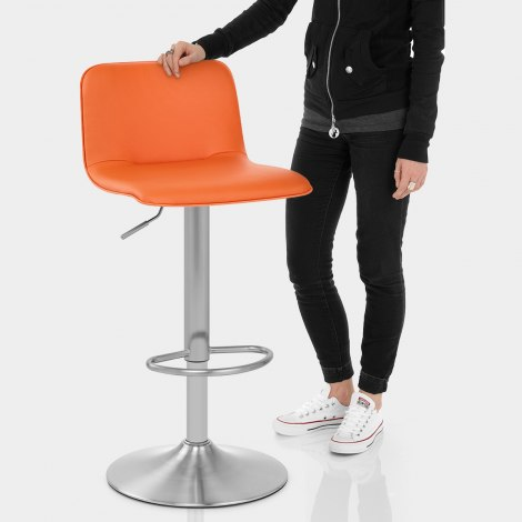 Cape Brushed Steel Stool Orange Features Image