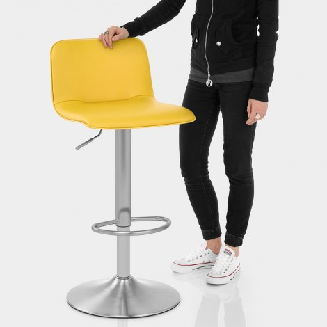 Cape Brushed Steel Stool Yellow Features Image