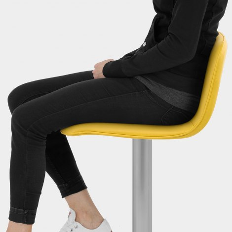 Cape Brushed Steel Stool Yellow Seat Image