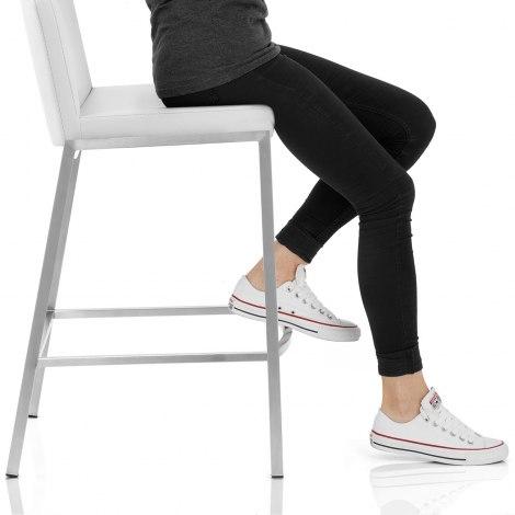 Capone Brushed Steel Stool White Seat Image