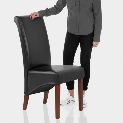Carlo Walnut Chair Black Leather Features Image