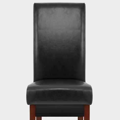 Carlo Walnut Chair Black Leather Seat Image
