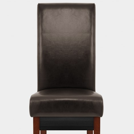 Carlo Walnut Chair Brown Leather Seat Image