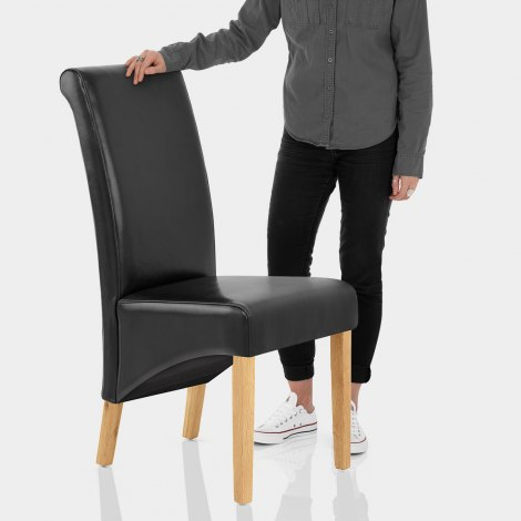 Carlo Oak Chair Black Leather Features Image