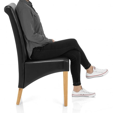 Carlo Oak Chair Black Leather Seat Image