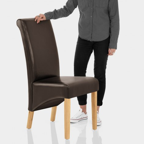 Carlo Oak Chair Brown Leather Features Image