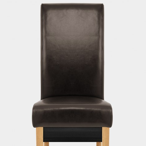 Carlo Oak Chair Brown Leather Seat Image